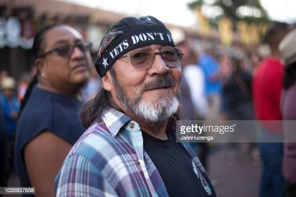 santa fe, nm: military veteran at 2018 santa fe fiesta - american indian military stock photos and pictures