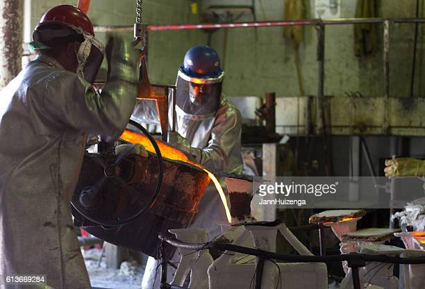 Santa Fe, NM: Workers Pouring Bronze at Shidoni Foundry