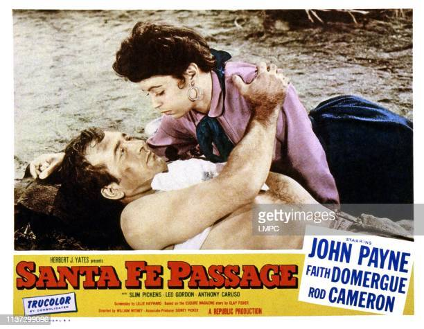 Santa Fe Passage lobbycard from left John Payne Faith Domergue 1955