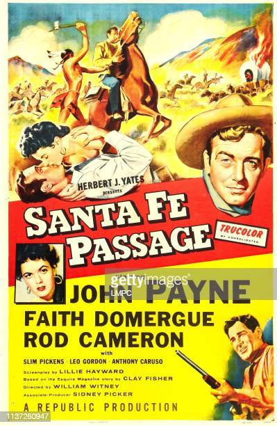 Santa Fe Passage poster US poster art insert Faith Domergue right John Payne 1955