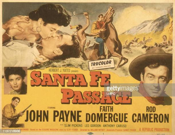 Santa Fe Passage poster US poster kissing from top Faith Domergue John Payne left from top Faith Domergue Rod Cameron John Payne 1955
