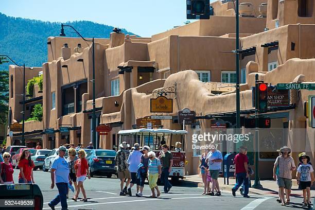 Santa Fe street scene with many pedestrians