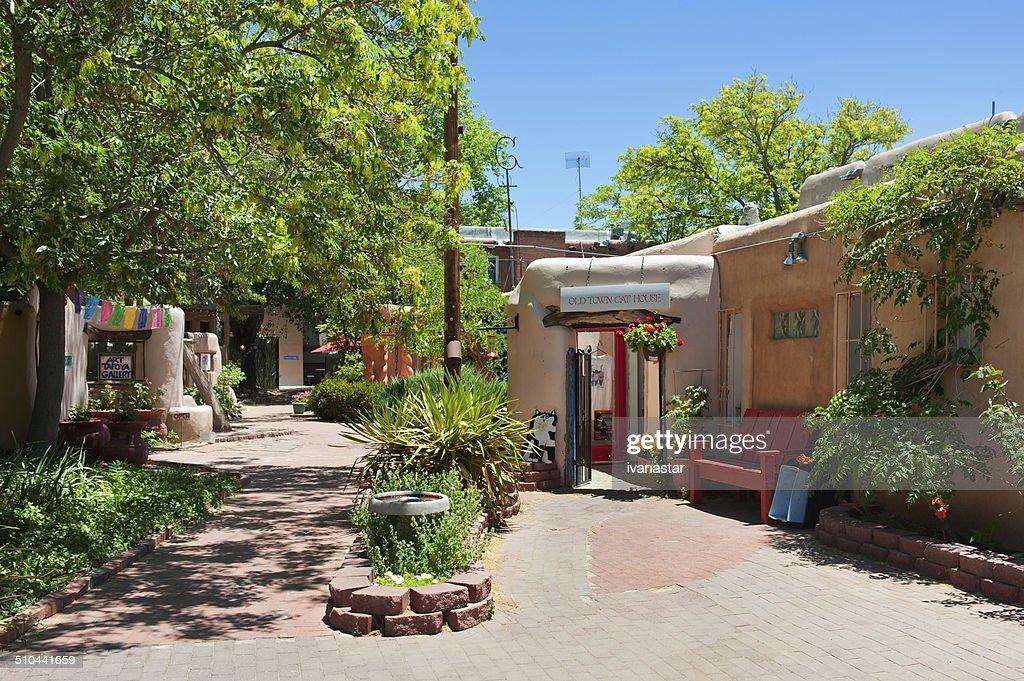 Santa Fe Style Old Town Plaza Courtyard : Stock Photo
