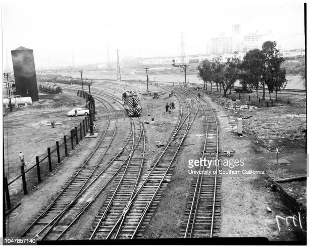Santa Fe train wreck at scene of wreck 23 January 1956 Blood donations given at scene of wreckHolsey Williams general views of train and remains...