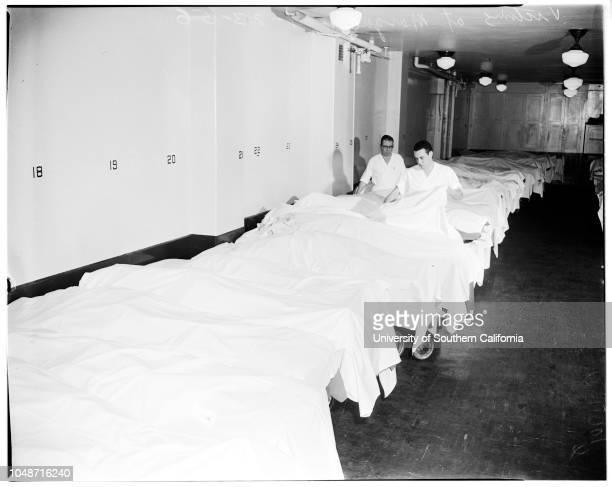 Santa Fe train wreck victims 23 January 1956 Scene at the morgueidentifying bodies etcPhil Schwartzberg CE Lipton Officer LJ BuzzelleCharles Foster...