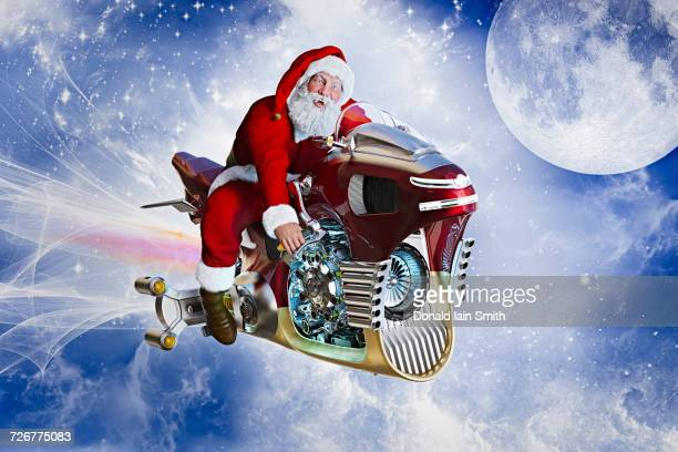 Santa flying in sky on futuristic motorcycle