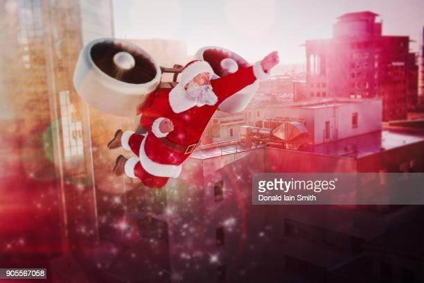 Santa flying jet pack in futuristic city