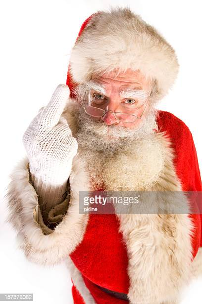 santa gives the middle finger (on white) - naughty santa stock photos and pictures