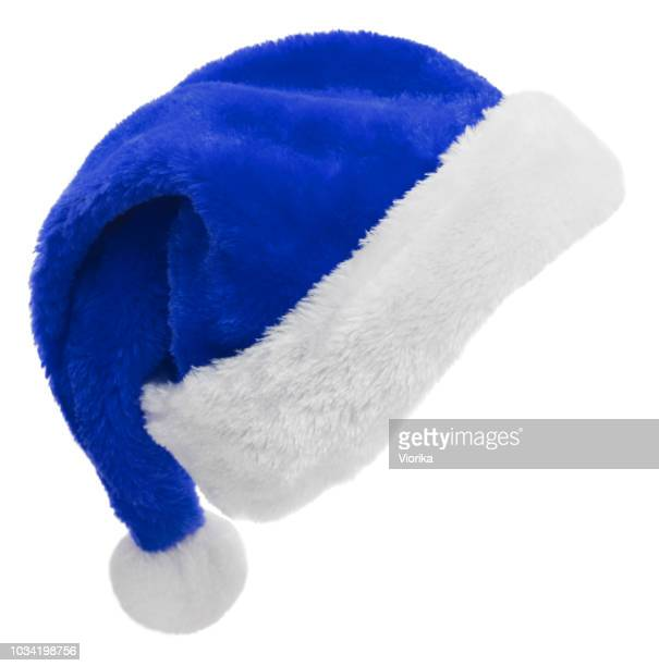 santa hat (blue) on white - blue hat stock pictures, royalty-free photos & images