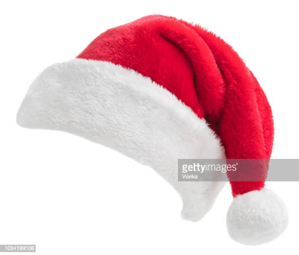 santa hat on white - cappello foto e immagini stock