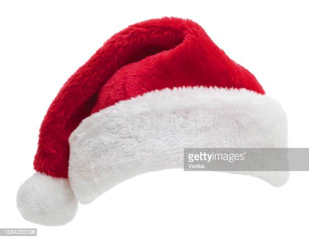 santa hat on white - santa hat stock photos and pictures