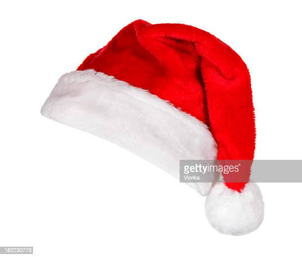 santa hat (on white) - hat stock photos and pictures