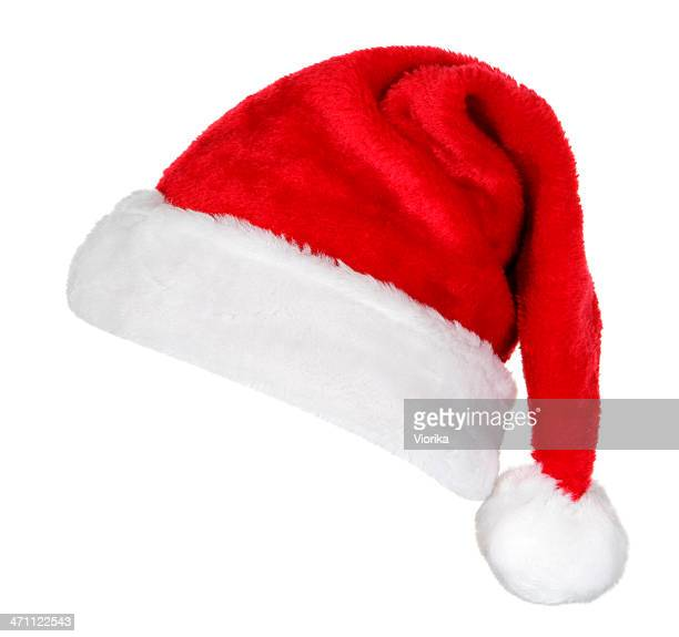santa hat (on white) - hat stock pictures, royalty-free photos & images