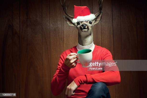 santa hat reindeer man - funny christmas stock photos and pictures