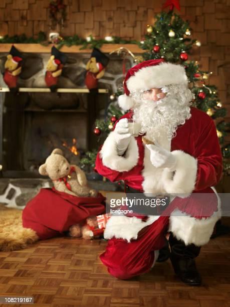 Santa Having Cookie and Milk