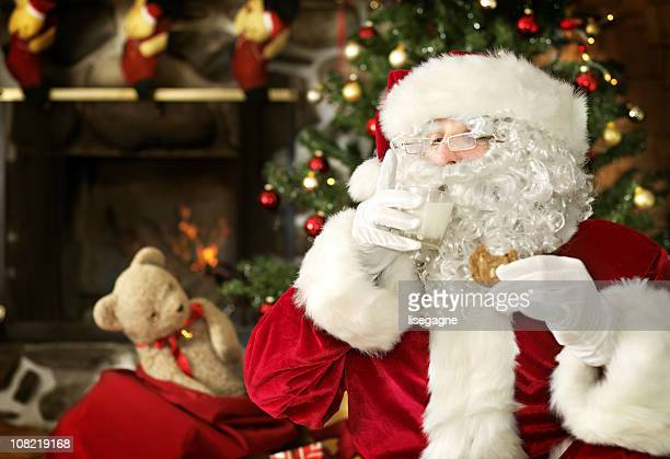 Santa Having Milk and Cookie