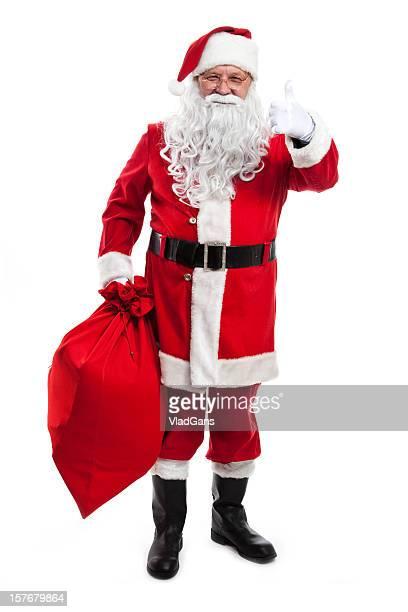 Santa hält eine Tüte voller Geschenke