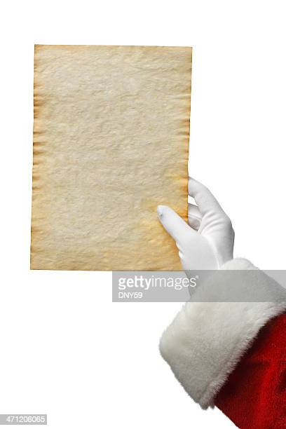 santa holding a list - list stock pictures, royalty-free photos & images