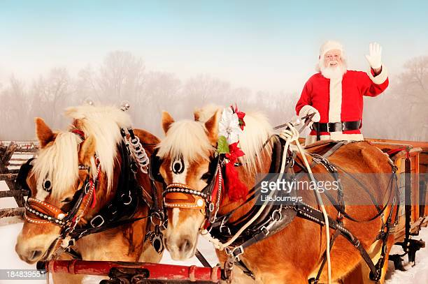 Santa In A Winter Wonderland With His Sleigh And Horses