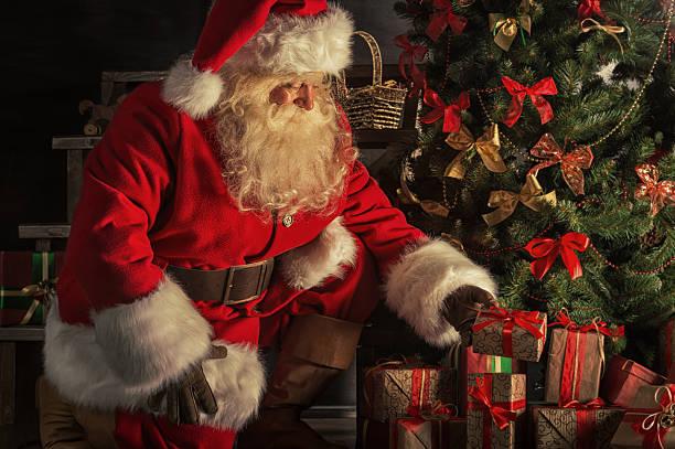 santa is placing gift boxes under christmas tree santa claus - Santa Claus Gifts