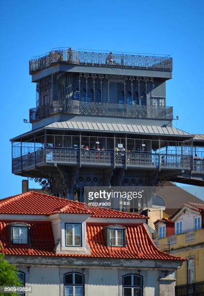 santa justa elevator and buildings of the chiado area, lisbon, portugal - gustave eiffel stock pictures, royalty-free photos & images