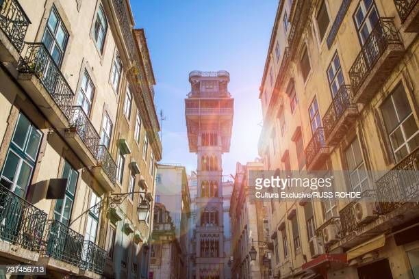 Santa Justa lift in sunlight, Lisbon, Portugal