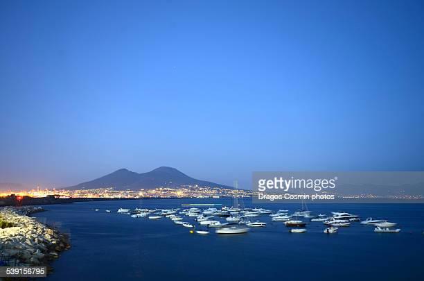 Santa Lucia Harbour and volcano Vesuvius in Napoli