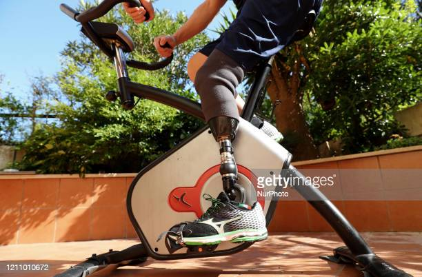 Santa Lucia Wheelchair Basketball Club player Matteo Cavagnini trains at home on April 24 2020 Rome Italy After the Italian government has issued the...