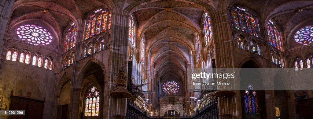 Santa María de León Cathedral, Leon city, Leon province, Castilla y Leon, Spain, Europe : Stock Photo