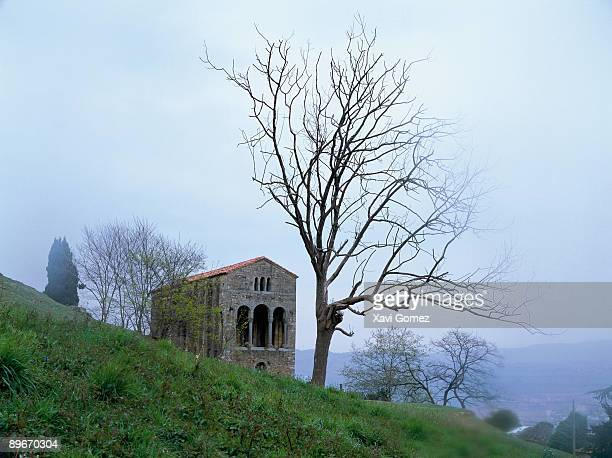 santa maría del naranco church oviedo. asturias - oviedo stock pictures, royalty-free photos & images