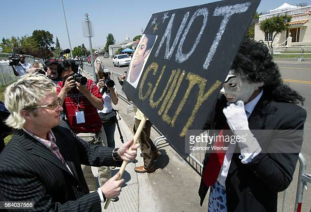 Santa Maria Ca–Michael Jackson fan Seany O'Kaneleft harassing another protester with a sign John Leisenring right arrived at the Santa Maria...