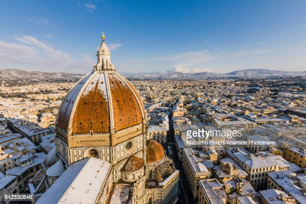Santa Maria del Fiore Cathedral (Duomo) and the town under the snow