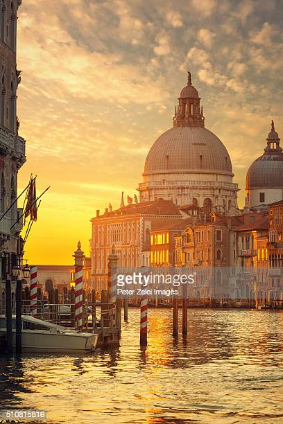 Santa Maria della Salute and the Grand Canal in Venice at sunrise