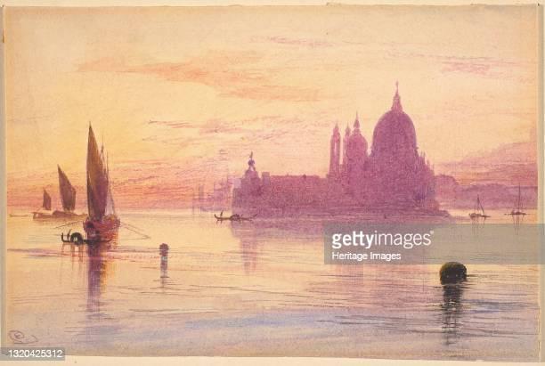 Santa Maria della Salute, Venice, at Sunset, 1865/1884. Artist Edward Lear.