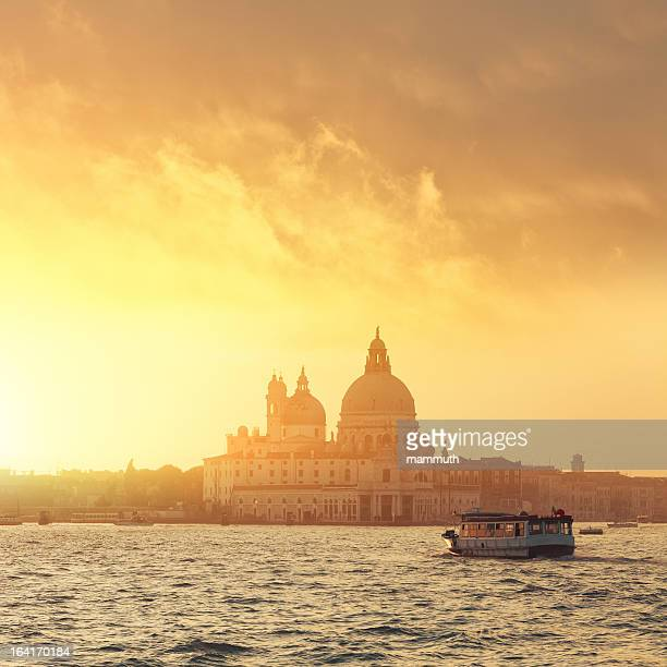 santa maria della salute - view from the lagoon - vaporetto stock photos and pictures