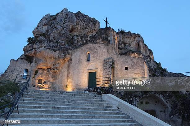 santa maria d´idris rock church, matera. basilicata italy - matera italy stock pictures, royalty-free photos & images
