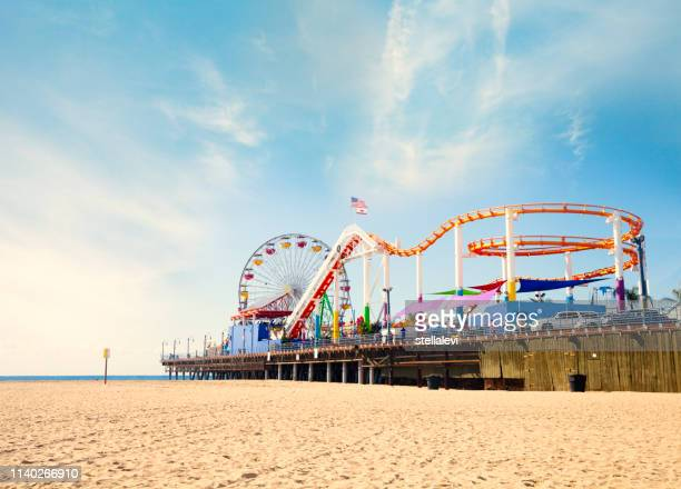 santa monica beach and pier - stellalevi stock pictures, royalty-free photos & images