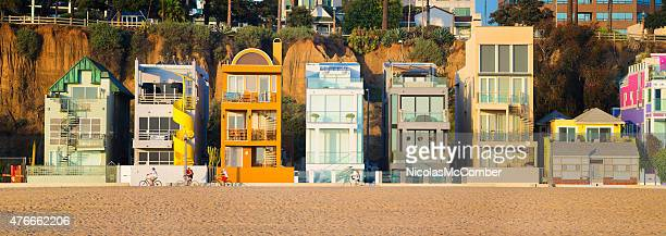 santa monica beach row of luxury homes panorama at sunset - southern california stock pictures, royalty-free photos & images