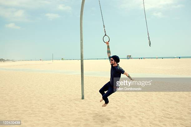 Santa Monica beach swinging