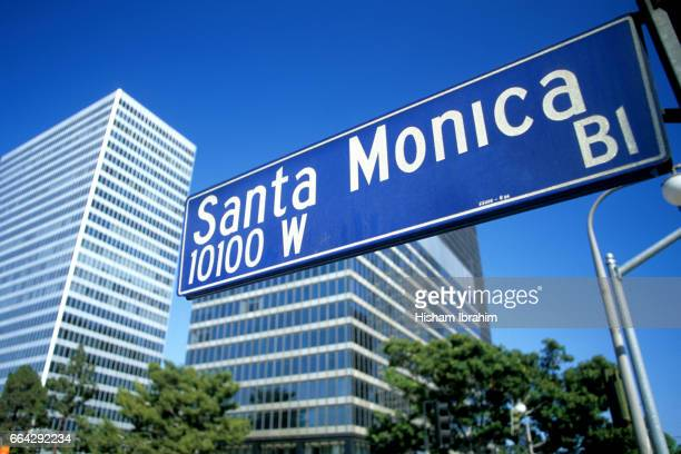 Santa Monica Boulevard Street Name Sign - Los Angeles, California, USA.