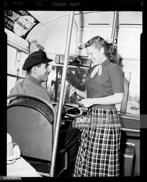 Santa Monica buses 10 September 1951 Bonnie HargraveJohn Roza Dolly Wylie Jackie PetersCaption slip reads 'Photographer Gaze Date Reporter Gaze...