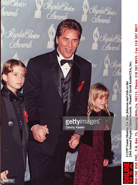 Santa Monica, Ca Don Johnson and kids at the 23rd annual People's Choice Awards.