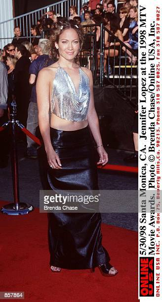 Santa Monica CA Jennifer Lopez at the 1998 MTV Movie Awards The program hosted by Samuel L Jackson will be broadcast on MTV Thursday June 4 from 911...