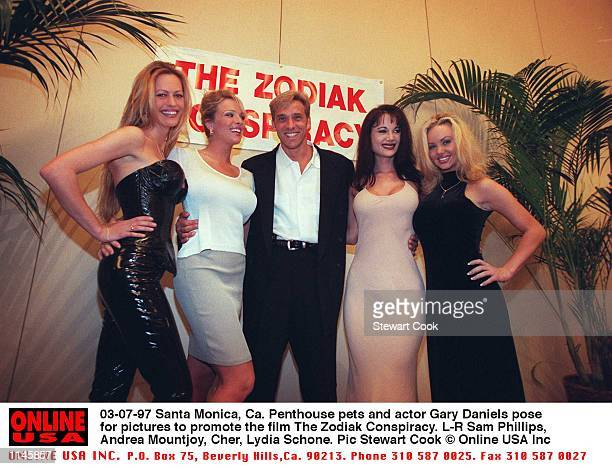 Santa Monica, Ca. Penthouse Pets and Gary Daniels pose for pictures promoting the release of The Zodiak Conspiracy. L-R Sam Phillips, Andrea...