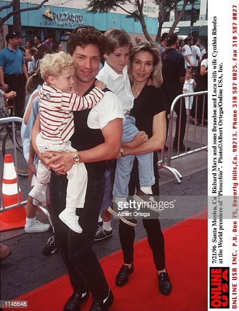 Santa Monica Ca Richard Marx with wife Cynthia Rhodes and sons Brandon and Luca at the premiere of Pinocchio
