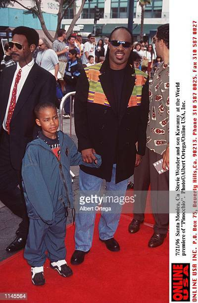 Santa Monica Ca Stevie Wonder and son Kawamy at the premiere of Pinocchio