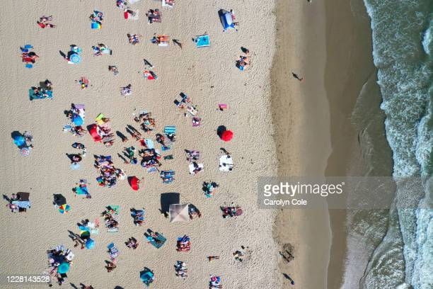 Santa Monica, California-Aug. 8, 2020-Summer activities at Will Rogers State Beach on Aug. 9, 2020.