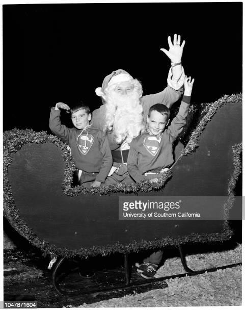 Santa Monica Christmas Parade 21 November 1956 Shirley RobertsonJack FogartyNick RobertsMike LennonHerb StricklandWalt Magill Caption slip reads...