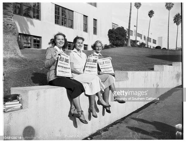 Santa Monica College 'Hello Day' 27 September 1951 Beverly NelsonPat StermerSusan PetersPat HennessyElaine JonesJackie WoodShirley de PuyPhyl...