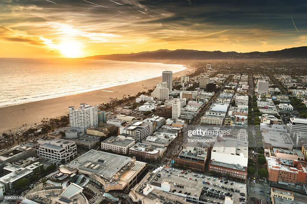 santa monica district from the helicopter : Stock Photo